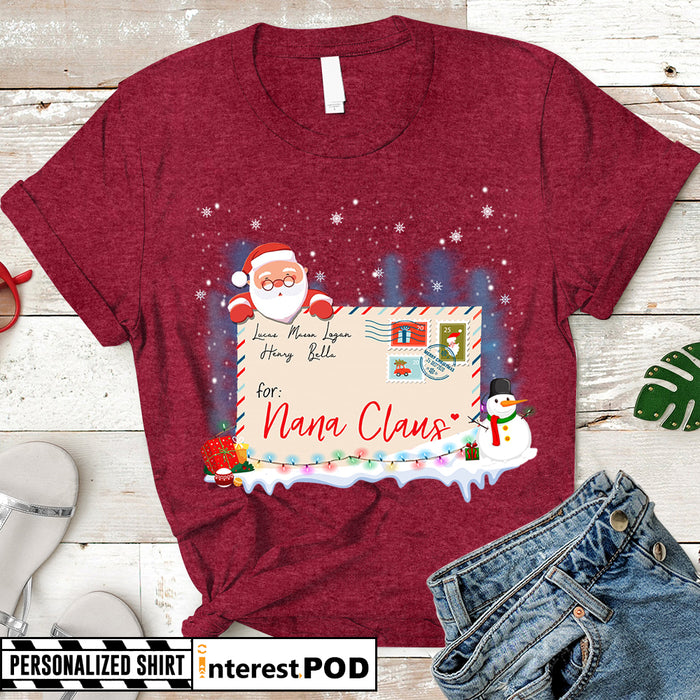 Personalized Christmas Gift for Grandma, Nana, Gigi, Christmas Letter for Nana Claus, Custom Nickname & Grandkid's Names Shirt - PT98 - LIHD