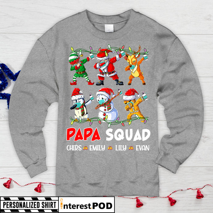 Personalized Christmas Shirt For Grandpa, Papa, Pop Pop..., Papa Squad, Dabbing Santa Squad Mask & Hand Sanitizer Quarantine, Nickname & Grandkid's Names Can Be Changed - PT98 - DO99