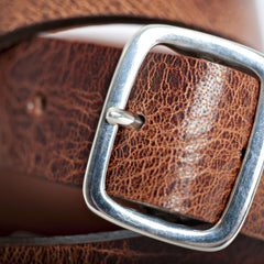 "300-Year Sterling Silver Buckle Belt: Water Buffalo ""Classic"" Edition"