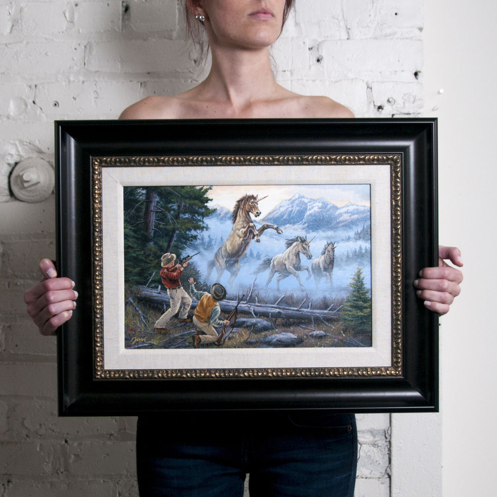 <em>Charge of the Unicorns</em>  Original Oil Painting