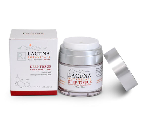 LACUNA BOTANICALS Deep Tissue - CBD Infused Massage & Pain Relief Cream 50 ml / 1.7 oz