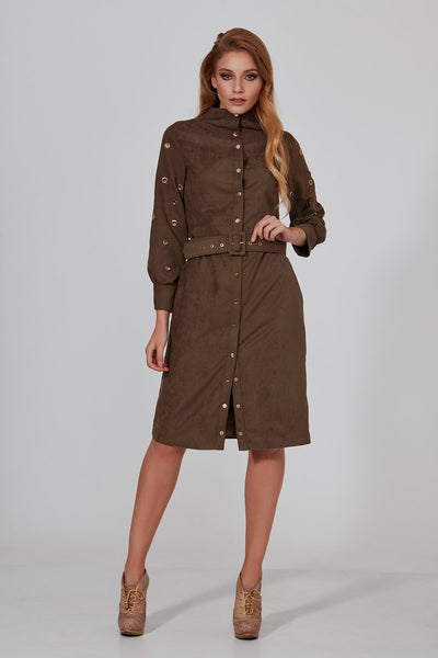 Suede Trench Dress - Mystylebox