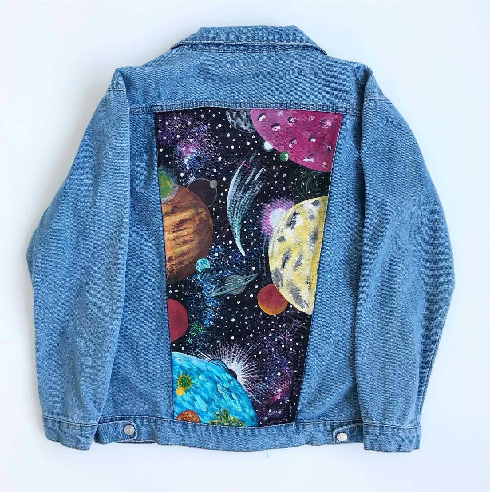 Hand Painted Jean Jacket (Space Design) - Mystylebox.ca