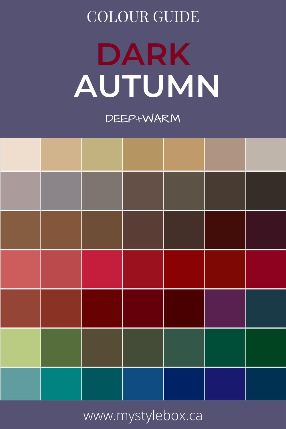 Dark Autumn Colour Guide