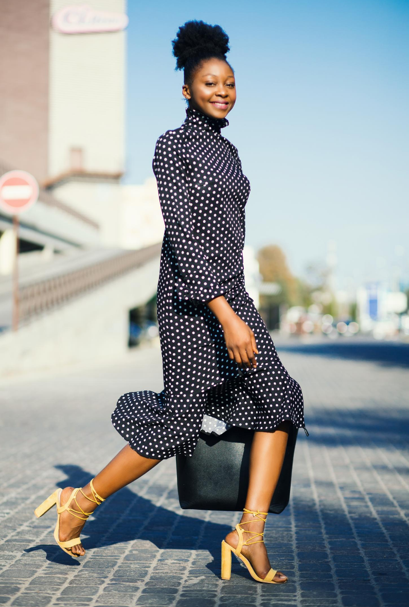 Yellow block heels with black dotted dress