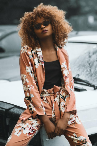 Large floral printed pant and jacket suit