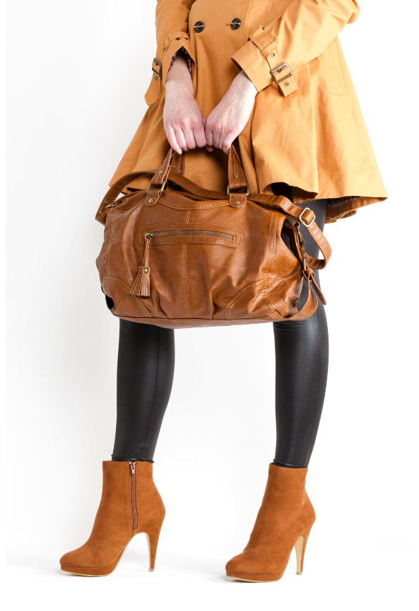 Brown high heel suede ankle boots
