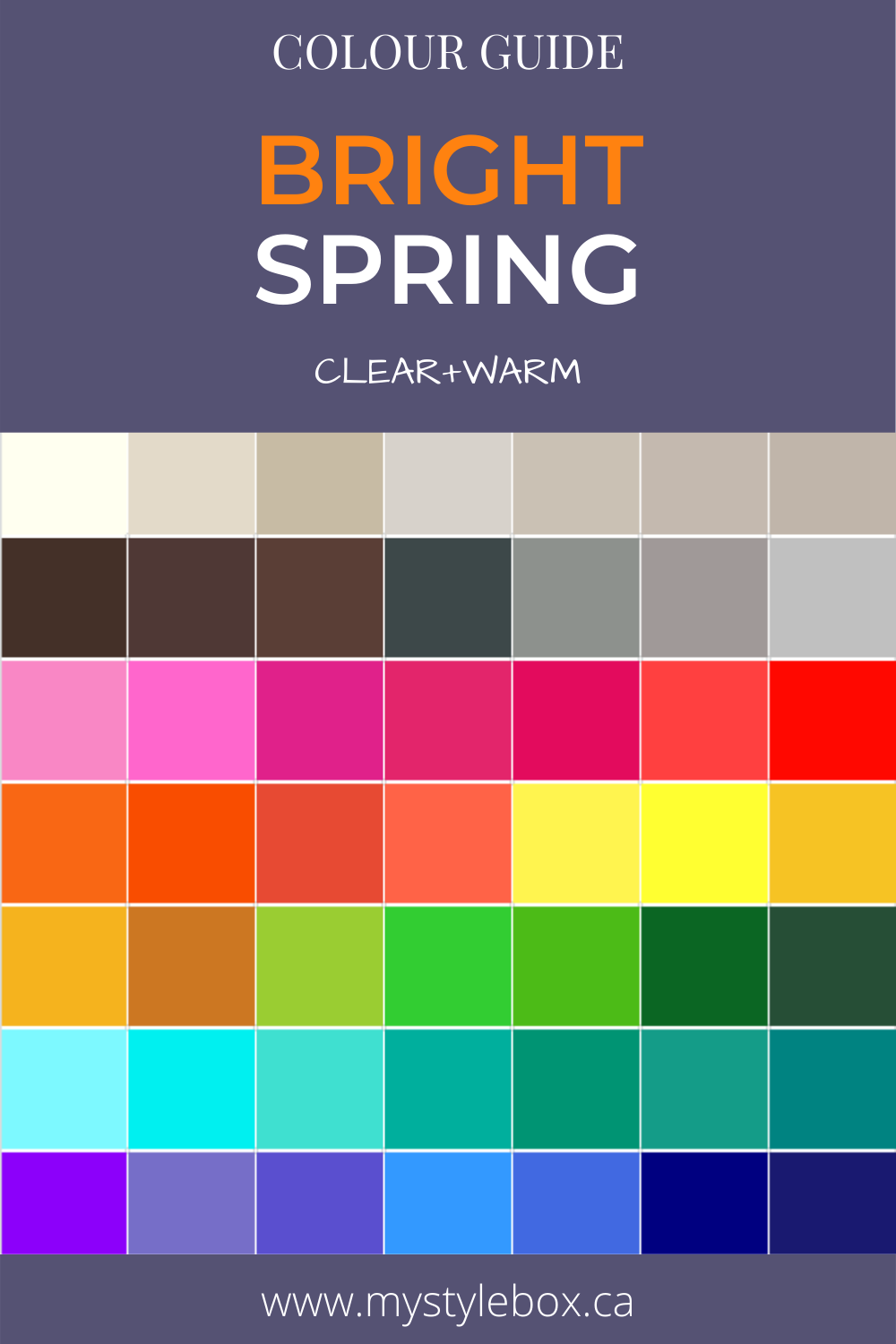 Bright Spring Colour Guide