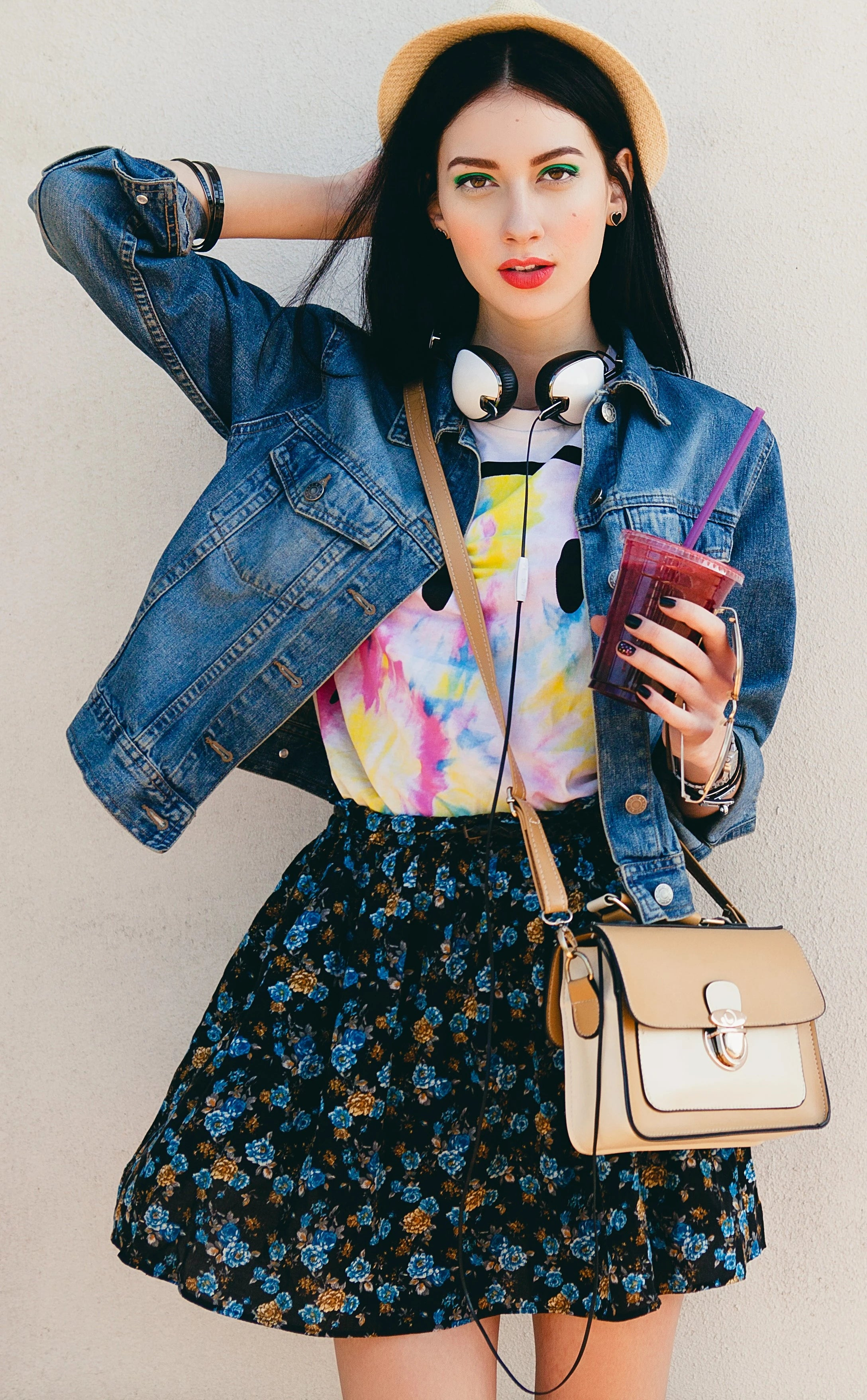Watercolour and floral pattern mix with denim jacket