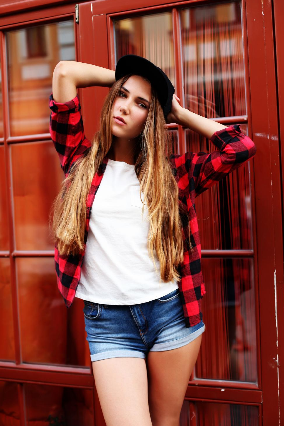 Red check shirt with jean short