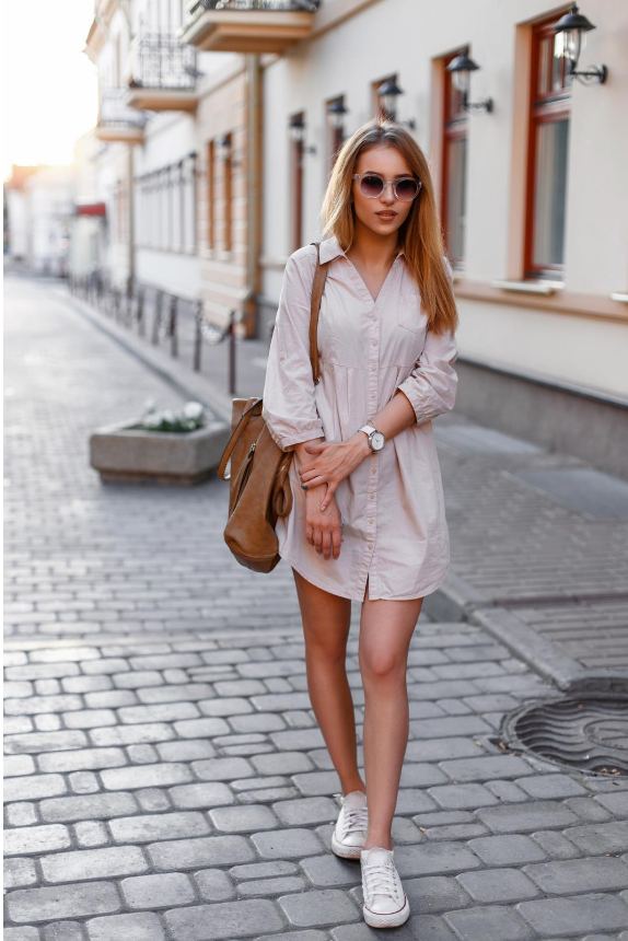 Sneakers with shirt dress