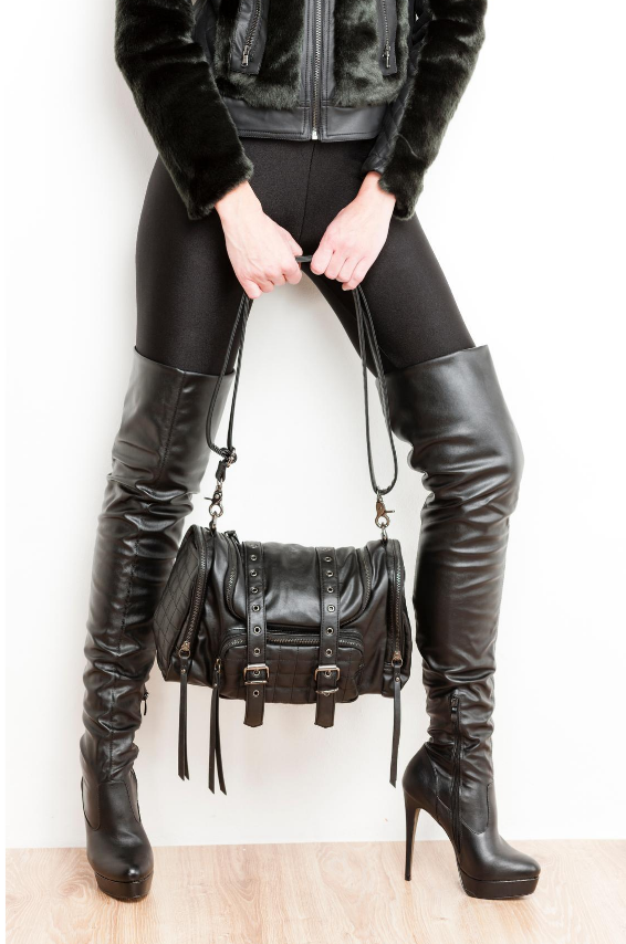 Black leather thigh high high heel boots