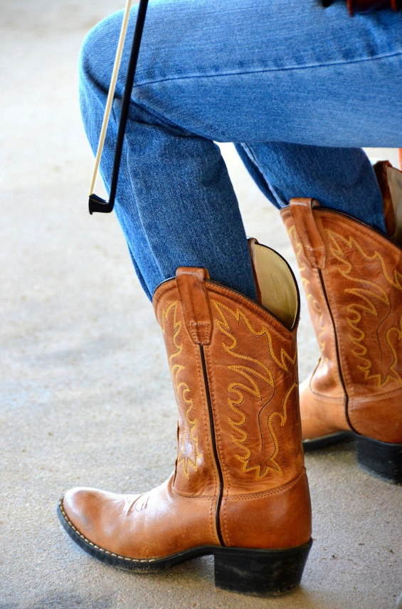 Cowboy boots with jean