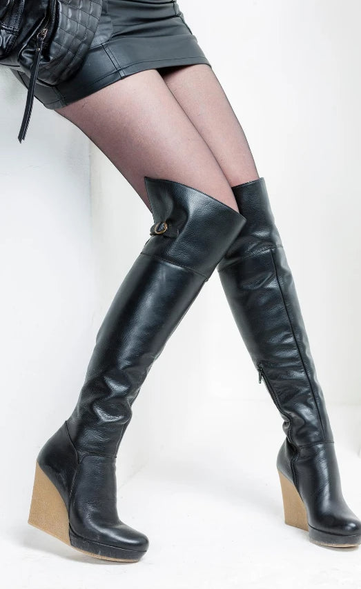 Black leather thigh high wedge heel boots