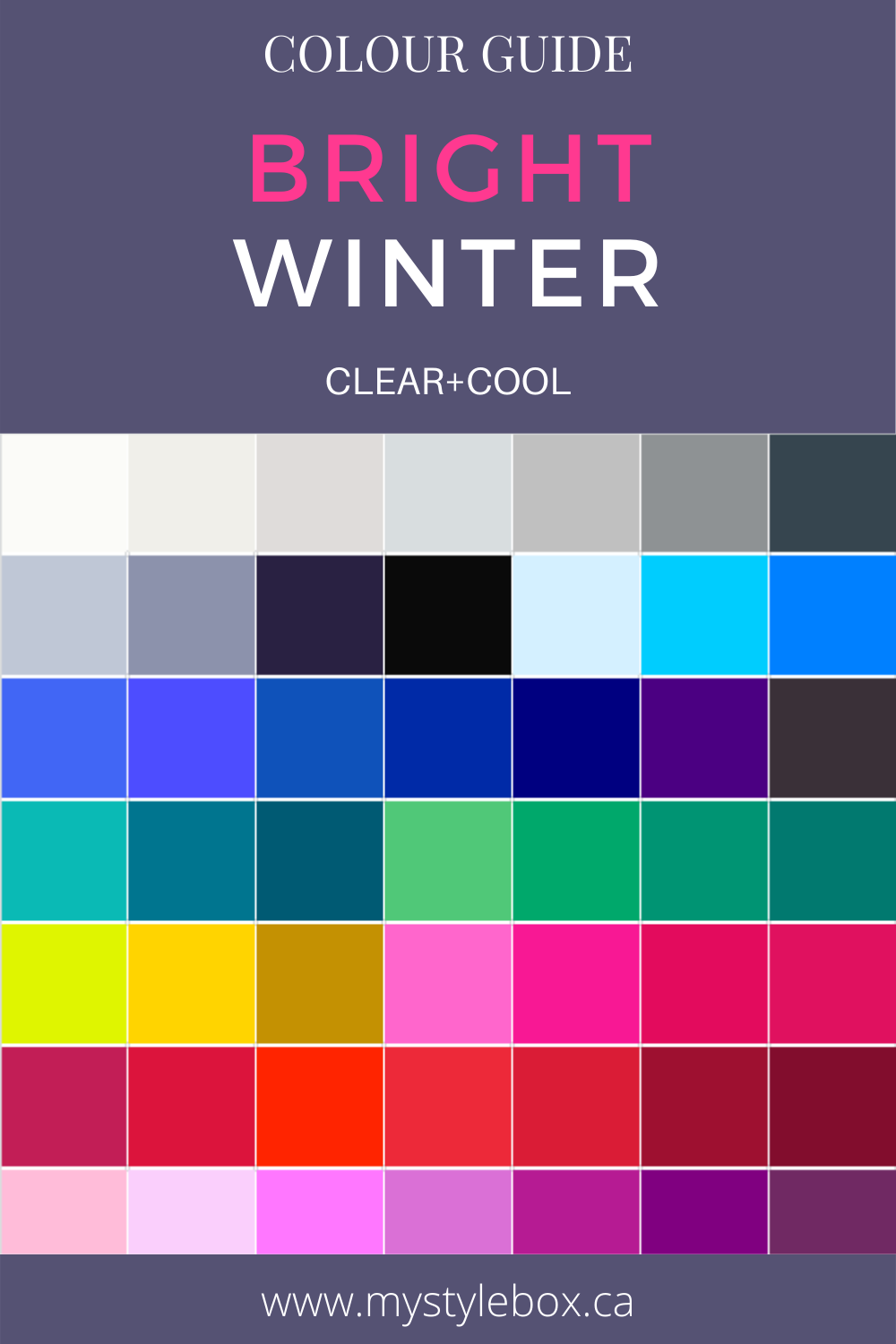 Bright Winter Colour Guide