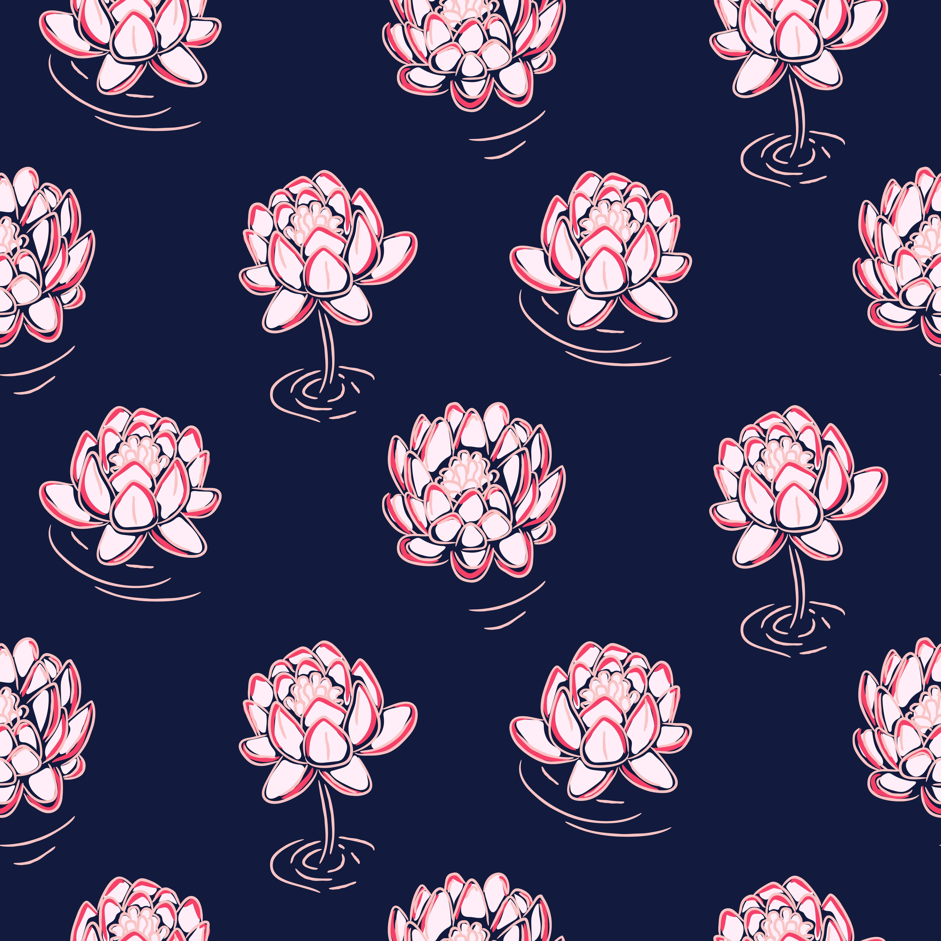Navy Floral Fabric Print