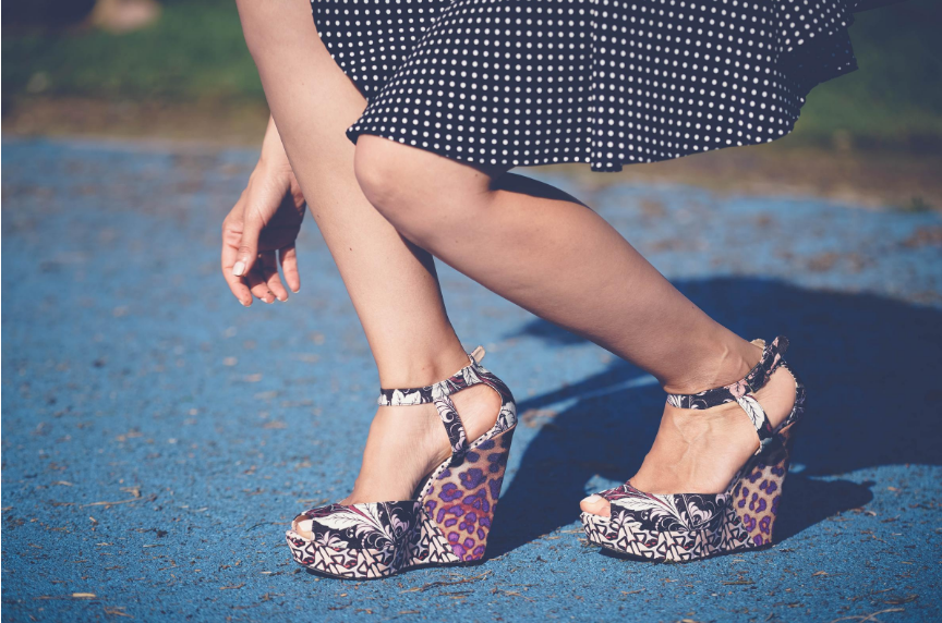 printed ankle strap wedge sandals