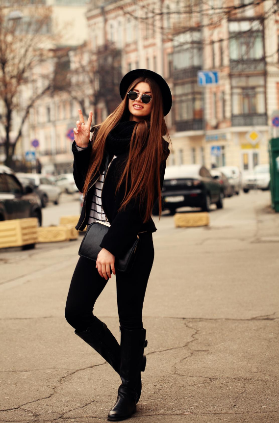 Black suede knee high boots with black jeans