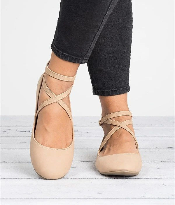 Nude ballet shoes with straps