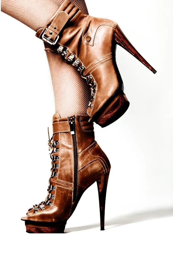 Brown high heel lace up boots