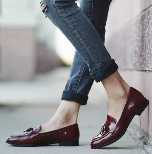 Burgundy flat loafers