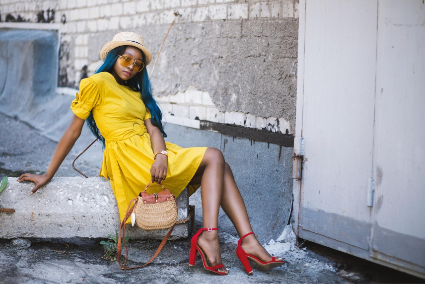 Red ankle strap heels with yellow dress