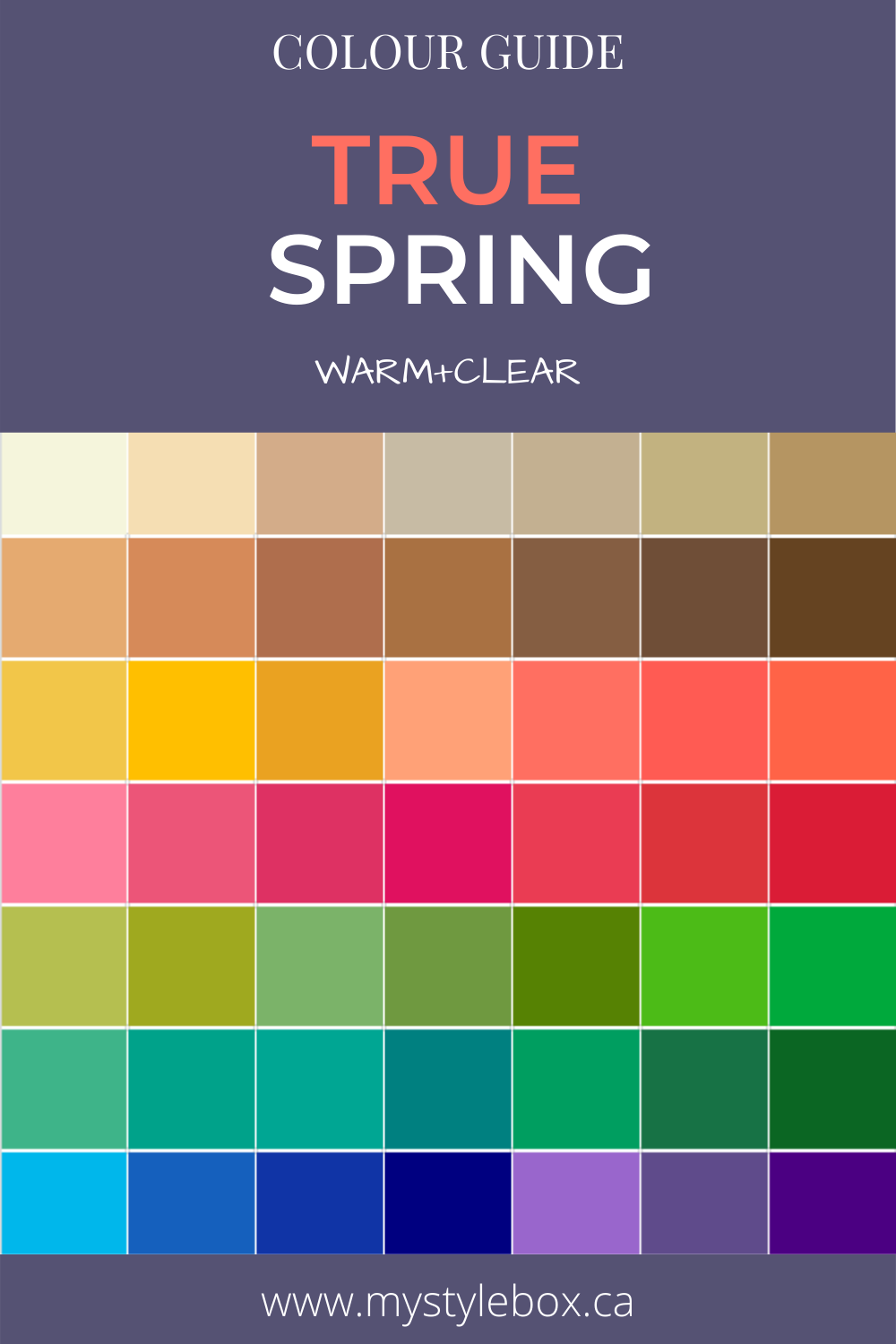 True Spring Colour Guide