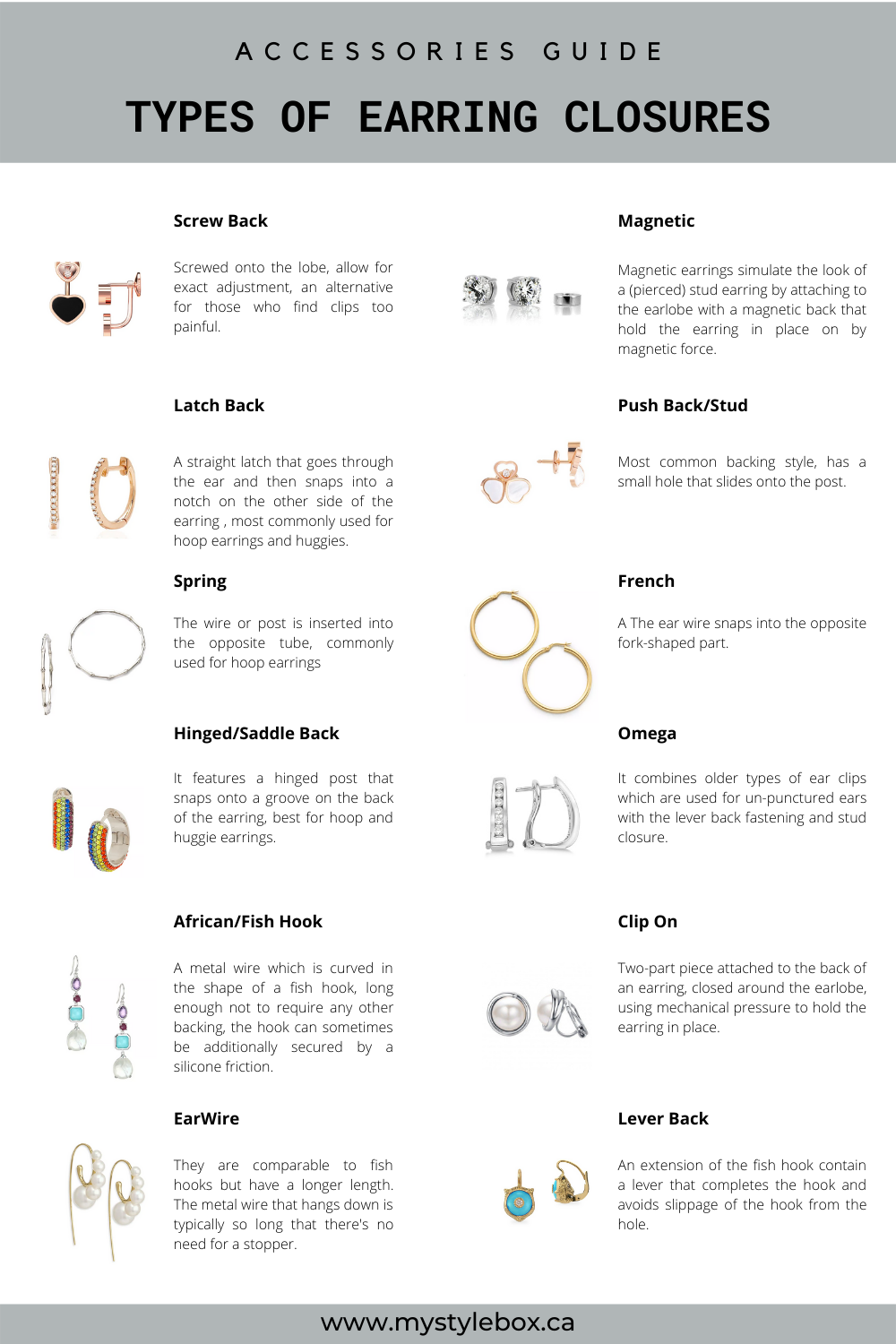 Types of Earring Closures
