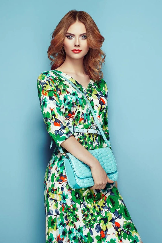 Floral printed midi fit and flare dress