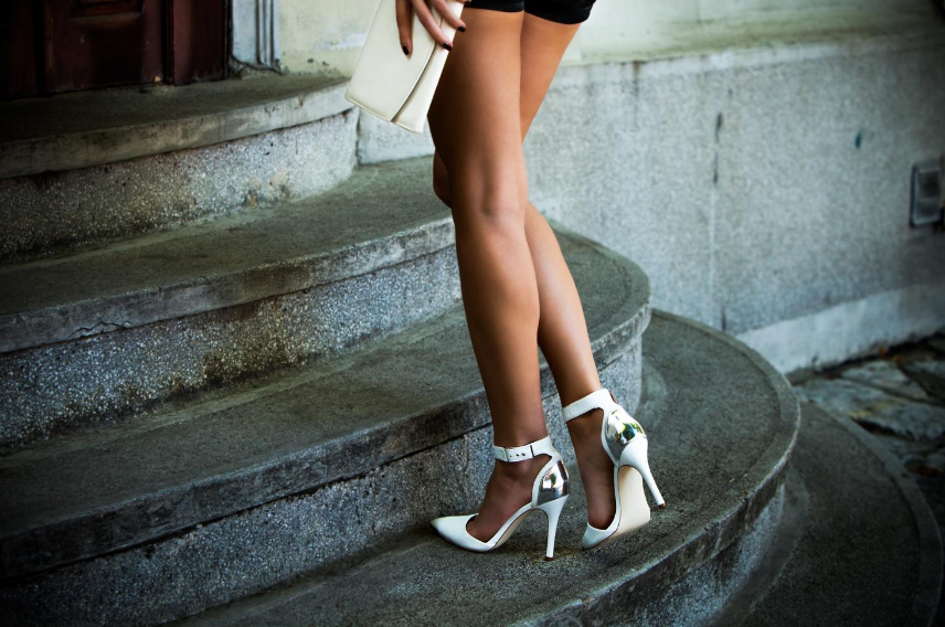 Ankle strap white heels
