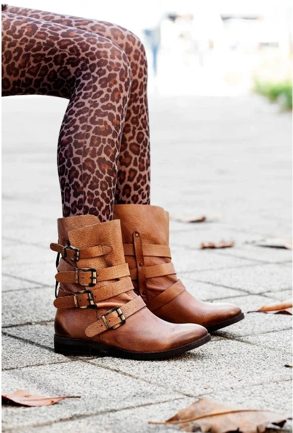 Brown mid calf strapped boots