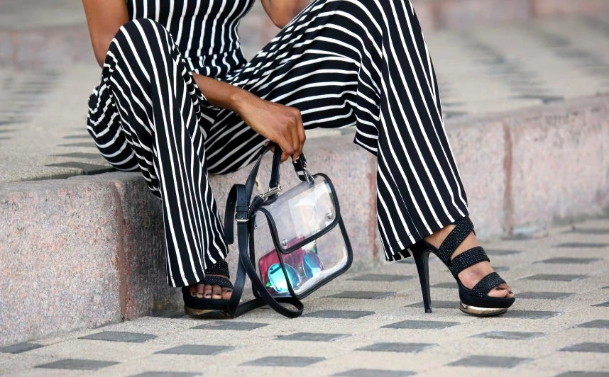 Strappy, black high-heel shoes