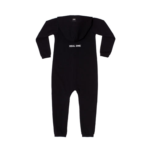 "Hooded Cotton Onesie ""Real One"" Black"