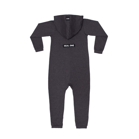 "Hooded Cotton Onesie ""Real One"" Anthracite"