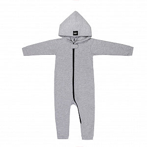"Hooded Cotton Onesie ""Real One"" Gray"