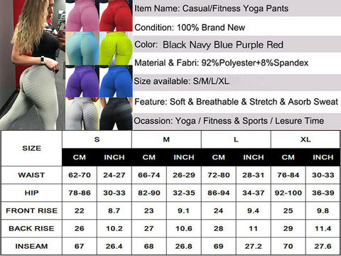 Leggins Push Up Sexy Damen Runder Po Sport Yoga Leggings Hose Sporthose Textur