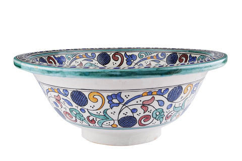 Moroccan HAFI Hand-Painted Bathroom Sink - Unique Sinks
