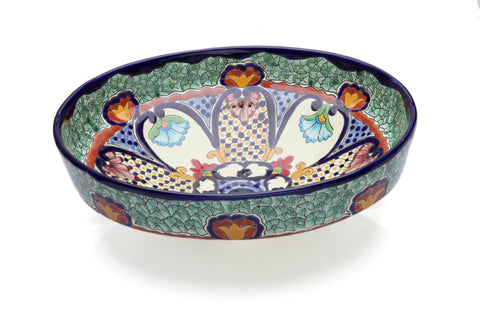 Mexican Juanetta Oval Vessel Hand-painted Bathroom Basin - Unique Sinks