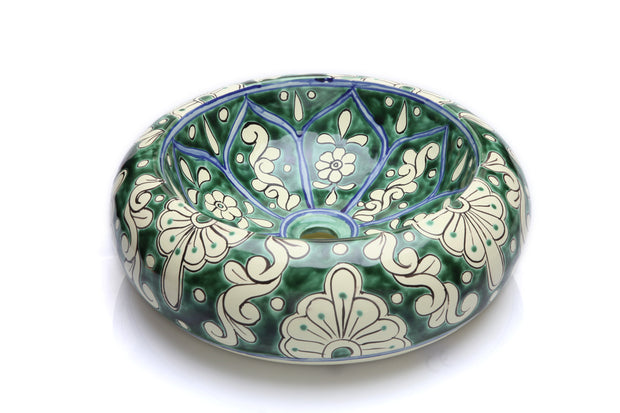 Mexican Baila Round Vessel Hand-painted Bathroom Basin - Unique Sinks