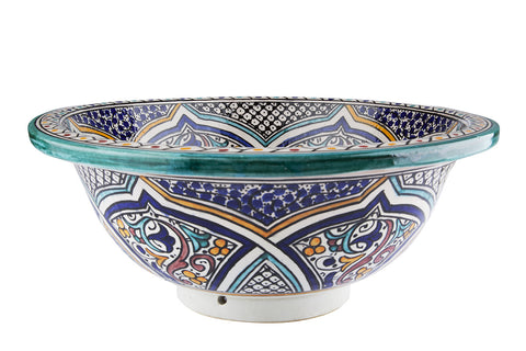 Moroccan MIKHAT Hand-Painted Bathroom Sink - Unique Sinks