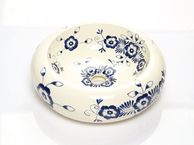 Mexican Alonsa Round Vessel Hand-painted Bathroom Basin - Unique Sinks