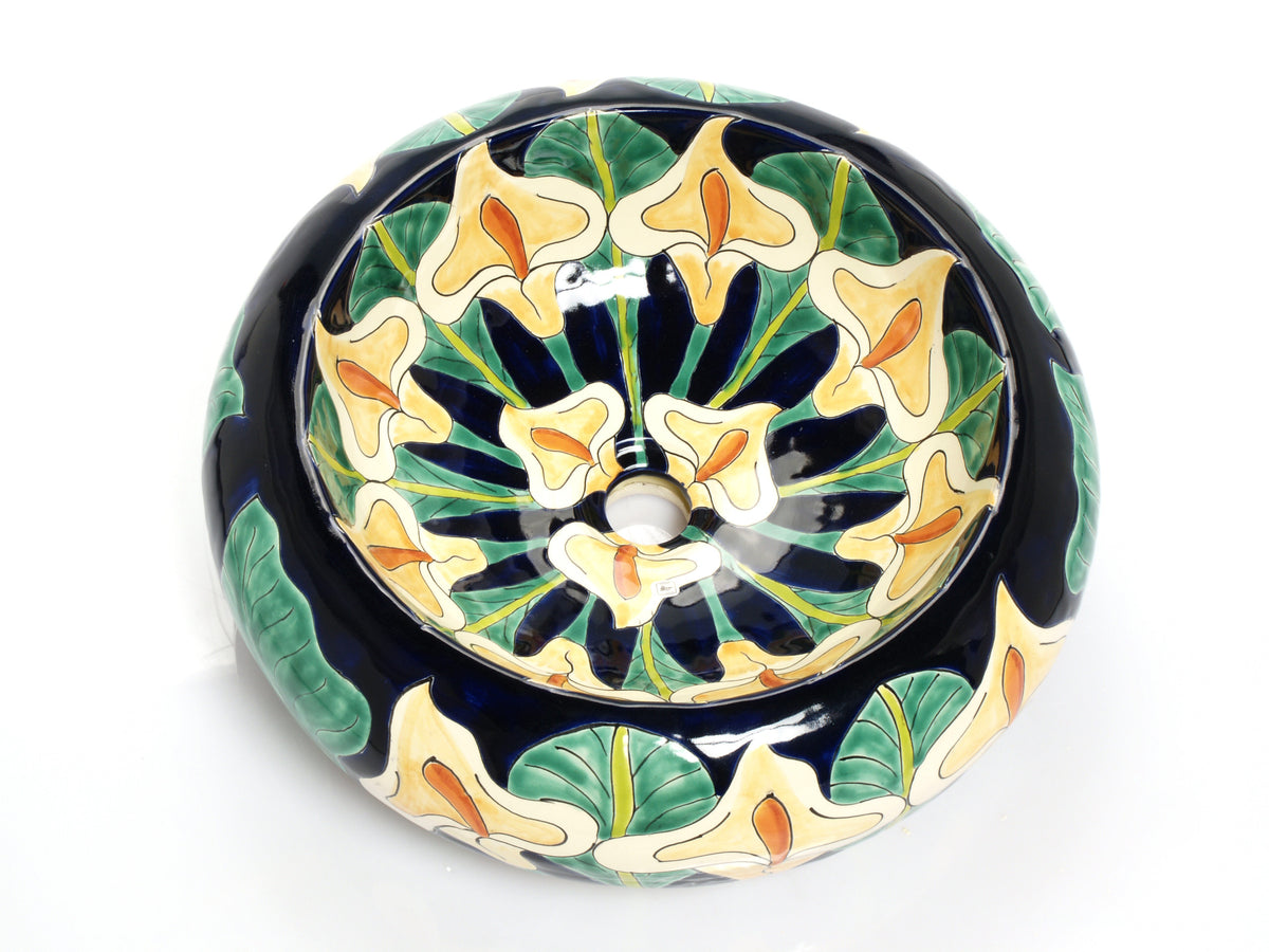 Mexican Calia Round Vessel Hand-painted Bathroom Basin - Unique Sinks