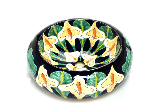 Mexican Calia Round Vessel Hand-painted Bathroom Basin