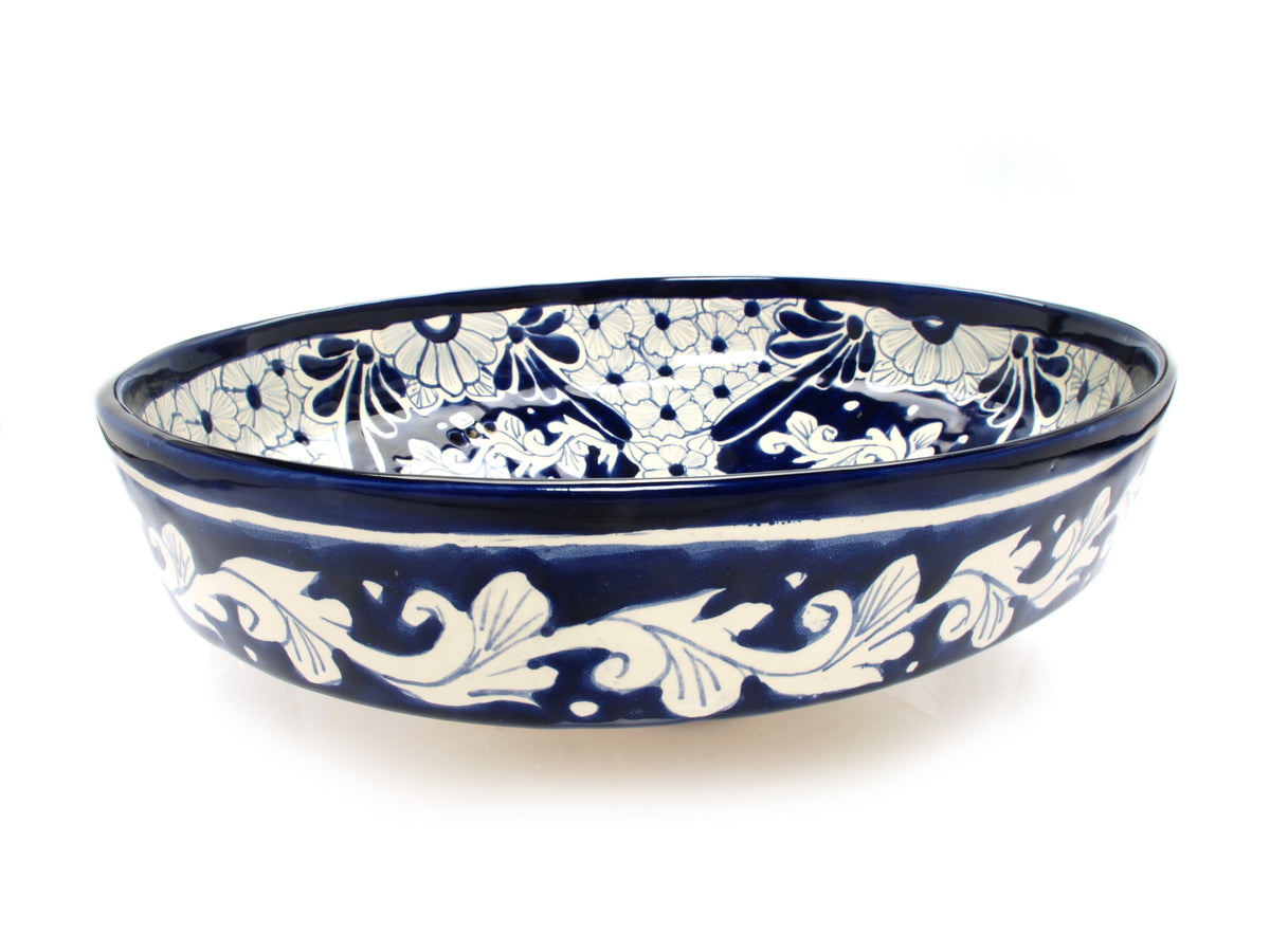 Mexican Bianca Oval Vessel Hand-painted Bathroom Basin