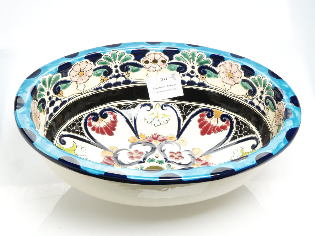 Mexican La Reina Large Drop-In Hand-painted Bathroom Basin - Unique Sinks