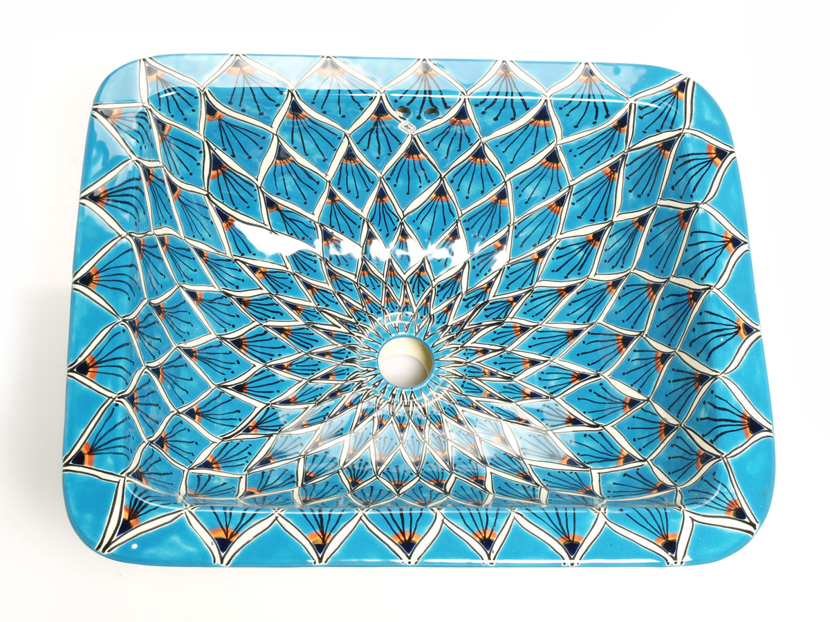Mexican Aqua Azul Rectangular Drop-In Hand-painted Bathroom Basin