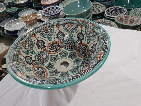 Moroccan SAFAA Hand-Painted Bathroom Sink