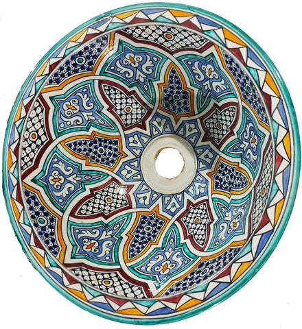 Moroccan ABBAS Hand-Painted Bathroom Sink