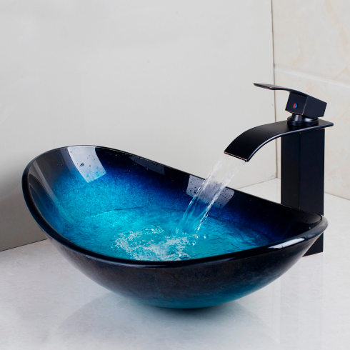 Oval Tempered Glass Cobalt Bathroom Sink with Tap - Unique Sinks