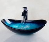 Oval Tempered Glass Cobalt Bathroom Sink - Unique Sinks